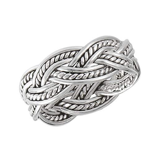 Thumb Ring Sterling Silver Celtic Woven Weave Braid Finger Ring 925
