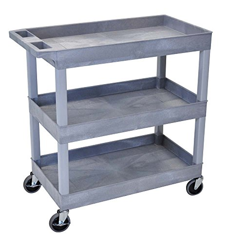 Luxor Mobile 32' x 18' Multipurpose Utility Supply Tub Cart with Ergonomic Handle and 3 Shelves, Gray - 2 Pack