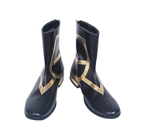 YuanCos Fate Caster Merlin Magus of Flowers Black Gold Long Cosplay Boots Shoes S008 (Male US 10.5/EU44.5)