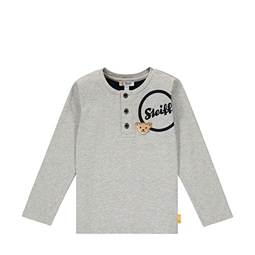 Steiff Jungen mit süßer Teddybärapplikation T-Shirt Langarm, Soft Grey Melange, 092