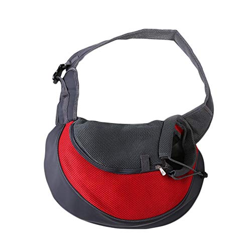 Yodio Cat Transport Box Foldable Top Mounted Escape Protection for Small and Medium Cats (Red)