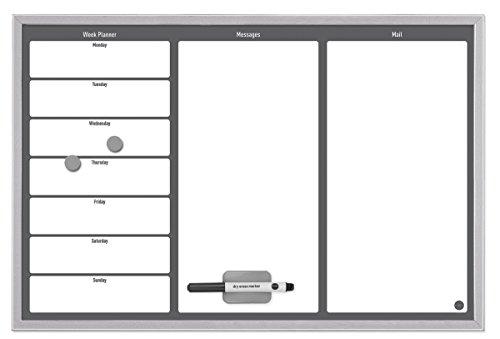 Bi-Office - Organizador Semanal Magnético, 60 x 40 cm, Pizarra de Planificación con Marco MDF Gris, Superficie Blanca y Gris con 3 Areas de Planificación
