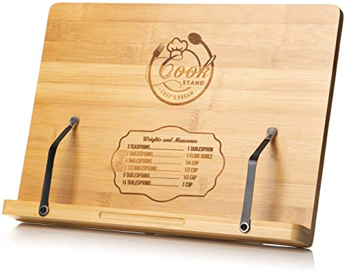 Cookbook Stand By Chef's Dream – Engraved Bamboo Book Holder With Adjustable 6 Height Positions Backing – Recipe Book Holder For Kitchen With 2 Metal Page Holders – Sturdy, Durable & Foldable Bookrest