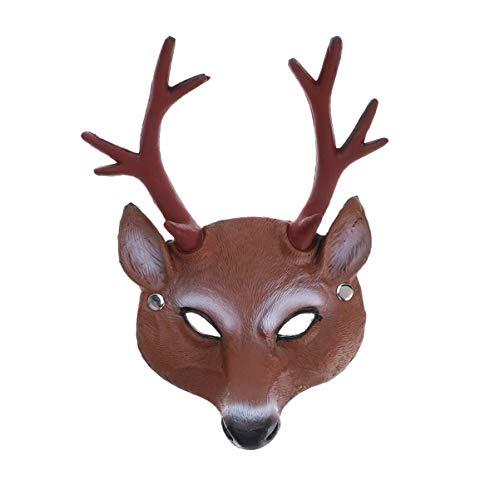 Amosfun Halloween Rentier Gesichtsmaske Maskerade Maske für Kostüm Karneval Party (Geweih)