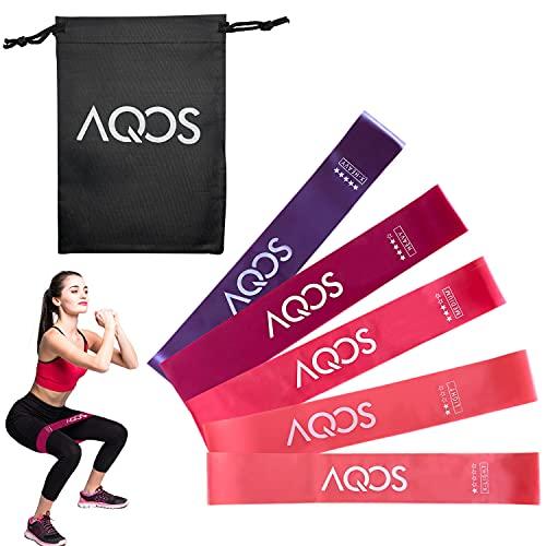 AQOS | Bandas elasticas musculación,5 Cintas elasticas, Gimnasio en casa, Ejercicio, Deporte, Bandas de Resistencia gluteos, Fitness, látex.