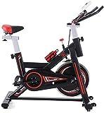 Bicicleta estática para Ciclismo en Interiores, Pantalla electrónica LCD Que Lee el Tiempo, etc, Manillar Ajustable, Resistencia del Asiento, Bicicleta estática electromagnética para el Hog
