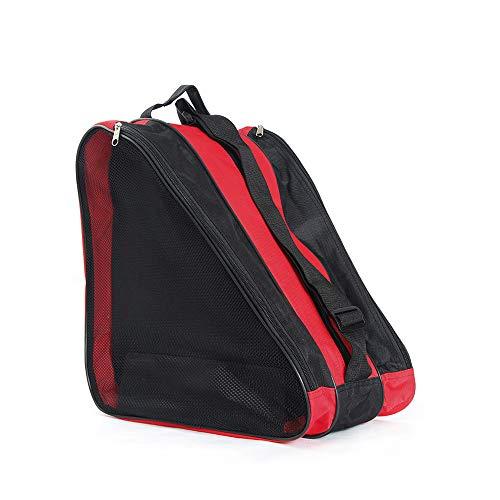 YOMERA Schlittschuh- und Rollschuhtasche, Skisport, Schultertragetasche, Premium-Tasche zum Tragen von Schlittschuhen, Rollschuhen, Inlineskates für Kinder und Erwachsene, Rot