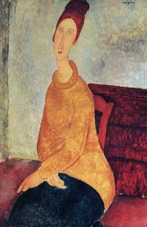 Yellow Sweater Mme Hebuterne Poster Print by Amedeo Modigliani (12 x 18)