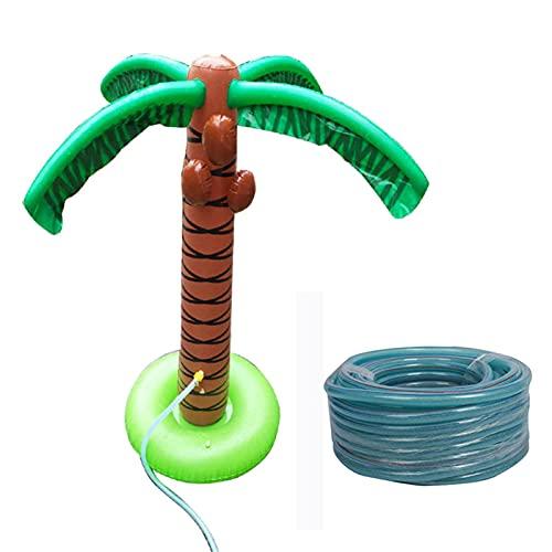Binghai Splash Toy - Regadera inflable de árbol de coco con tubo de PVC para niños vadear piscina juguete de agua para fiesta al aire libre de 61 pulgadas de alto