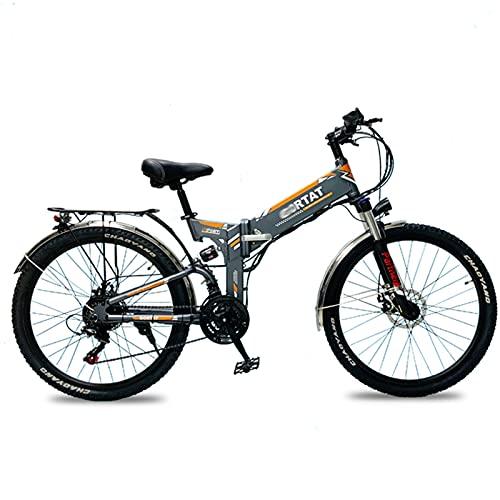 WZW Q5 26' Adultos montaña Bicicleta Electrica 500W LCD Monitor Plegable Bicicleta eléctrica 48V / 10Ah Incorporado Litio Batería Electrónico Bicicleta 21 Velocidad Engranajes (Color : B)