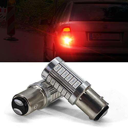1157 LED Bombilla Luz de freno BAY15D P21 / 5W 1016 1034 1196 7528 2057 2357 94 3014 Luces de señal de giro de estacionamiento en reversa de automóvil con proyector 12V 6.6W 800LM rojo (paquete de 2)