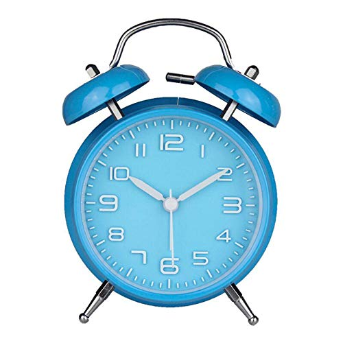 FPRW wekker met dubbele bel, draagbare wekker, klassieke dubbele bel, stil, uurwerk in vintage-stijl, decoratie voor thuis, blauw (11,6 x 5,5 x 16,5 cm)