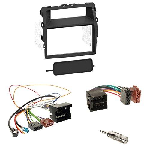 Autoradio Doppel 2-DIN Radioblende Blende schwarz + ISO Adapter für Nissan Primastar (X83 Facelift) ab2011 Opel Vivaro (J7/F7/E7 Facelift) 11-08/14 Renault Trafic II (JL/FL/EL Facelift) 2011-08/2014