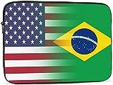 Bolso de la manga del ordenador portátil de la bandera americana de Brasil compatible con la caja del ordenador...