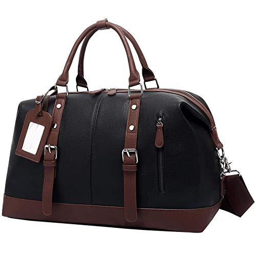 Grande Bolsa de Viaje Mujer Impermeable Bolsa Fin de Semana Hombre Cuero Bolsas de Deporte Duffle Bag Bolso Bandolera Ideal para Viajes de Negocios Gimnasio, Negro