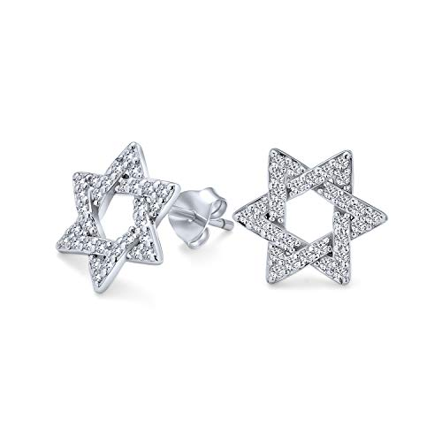 Open Cubic Zirconia Religious Judaic Jewish Hanukkah Pave AAA CZ Star Of David Stud Earrings For Bat Mitzvah For Women For Teen 925 Sterling Silver