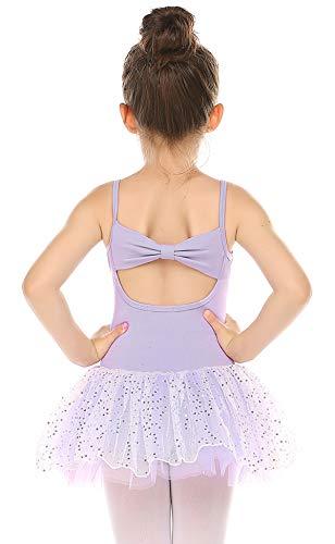 Zaclotre Little Girls Ballerina Outfits Ballet Tutu Leotard Glitter Camisole Skirted Dance Dress with Back Bow Purple 4-5 Toddler