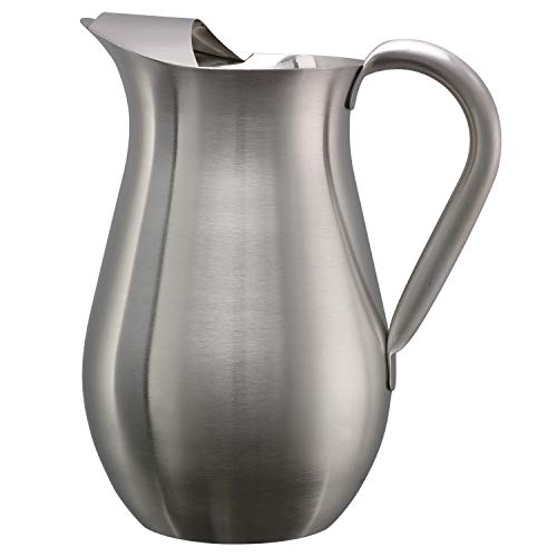 Service Ideas WPB2BS Brushed Pitcher with Ice Guard, Bell Shaped, 2 L