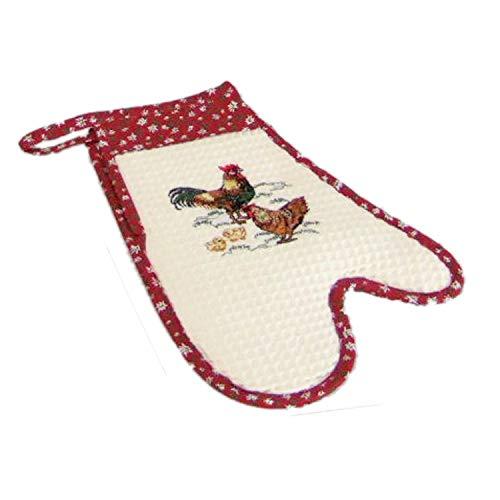Ofenhandschuh für die rechte Hand Backhandschuhe Backofen Handschuh Landhaus Serie Waffelpique Stickerei Hühner Edelweiß Borte Küchen Textilien Baumwolle