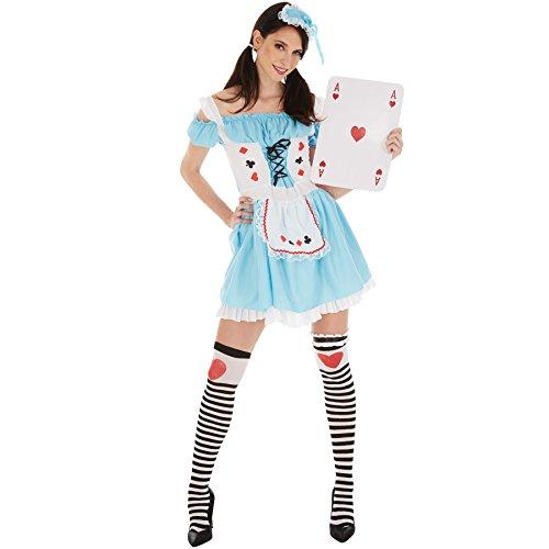 TecTake dressforfun Frauenkostüm sexy Spielkarten Dame | kurzes, sexy Kleid | aufgenähte Schürze und sexy Schnürung | inkl. Kniestrümpfe und Kopfbedeckung (XXL | Nr. 301049)