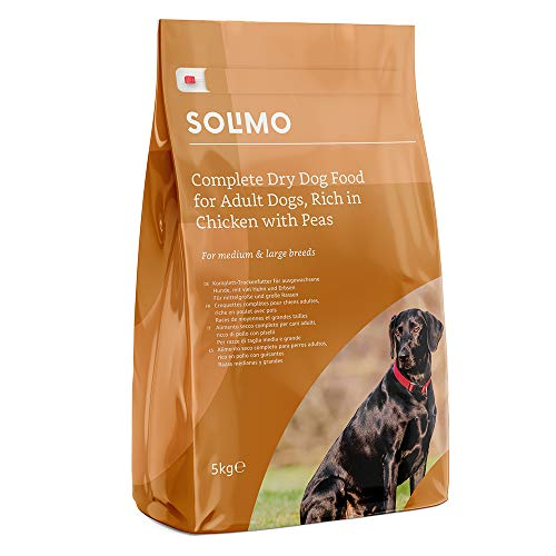 Marca Amazon - Solimo - Alimento seco completo para perro adulto rico en pollo con guisantes, 1 Pack de 5 kg