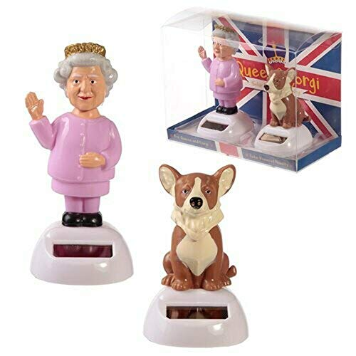 Collectable Queen and Corgi Solar Powered Pal Set of 2-FF104