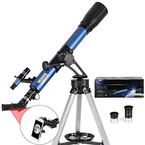 TELMU Telescopio Astronómico, el aumento es 28X y 116X, 70/600 mm, Telescopio refractor para observar la luna, estrellas, paisaje, trípode ajustable (70-118 cm), regalo para principiantes