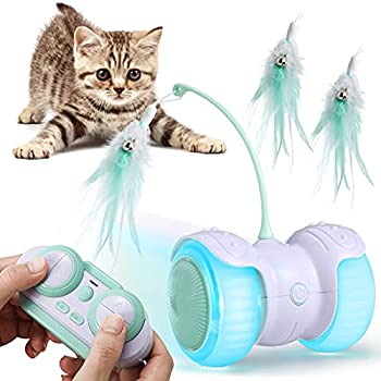 Pidsen Jouet Chat Interactif Télécommandé Balles Auto-Rotative avec Lumière LED Plumes Chargée par USB Boule Automatique pour Chaton