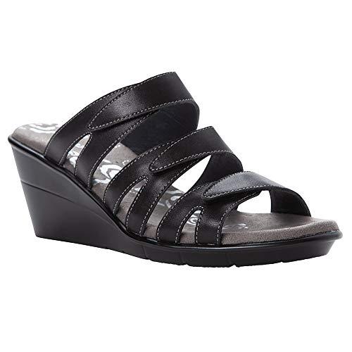Propét Women's Lexie Wedge Sandal, Black, 10 Wide