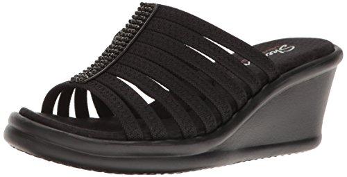 Skechers Cali Women's Rumblers Hot Shot Wedge Sandal,black/black,9 M US