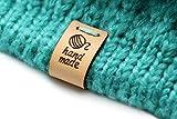 Etiquetas plegable de cuero hechas a mano hand made ovillo de lana Mod. HMF - Exclusivas grabadas etiquetas de piel italiana (15 piezas - Texto Estándar)