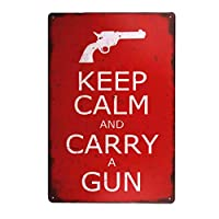 落ち着いて銃を運ぶぼろぼろのシックな装飾ヴィンテージブリキのトレイの壁画-20x30cm
