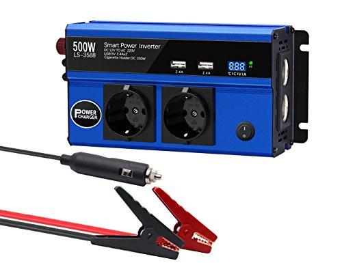 Jacknthe 500 W Power Inverter DC 12 V vers AC 220 V, DE VOITURE Inverter avec 4.8 A Double AC prises allume cigare Sockets et 4.8 A Double ports de recharge USB, convertisseur onde sinusoïdale modifiée adaptateur de voiture pour Electronics chargement, maison, camping, arrêt d'urgence