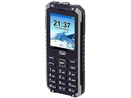 """Trevi FORTE PLUS 80 Telefono Cellulare Antiurto da Lavoro, Impermeabile IP68, Tasto SOS, Display LCD 2.4"""" con Comandi Semplici, Torcia Led, Bluetooth, Fotocamera, Batteria Lunga Durata, Nero/Grigio"""