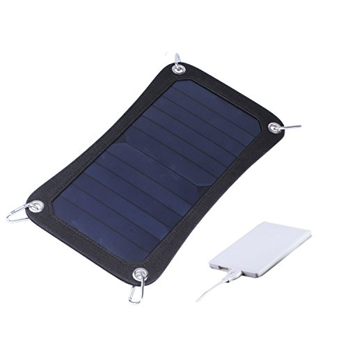 Lianfeng 6W USB Solar Panel Charger High Efficiency Portable Battery Charger with 1800mAh Power Bank for iPhone Samsung and More (Black)