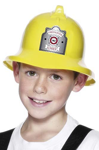 Smiffys Casque de pompier, jaune, avec badge