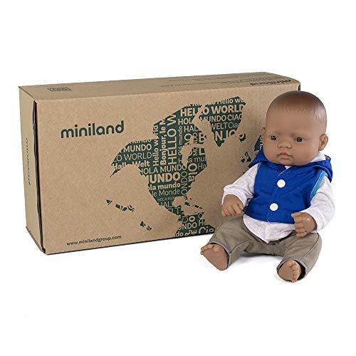 Puppe + Zubehör Geschenkset: Babypuppe mit lateinamerikanischen Gesichtszügen + Kleidungsset. (31204)