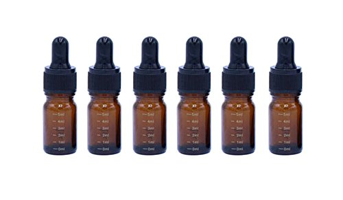 6PCS Brown Glass Essential Oil Sample Packing Vials Graduated Scale Dropper Bottles with Black Dropper Cap Cosmetic Elite Fluid Storage Holder Container Makeup Jar Pot DIY Beauty Tool (5ml/0.17oz)