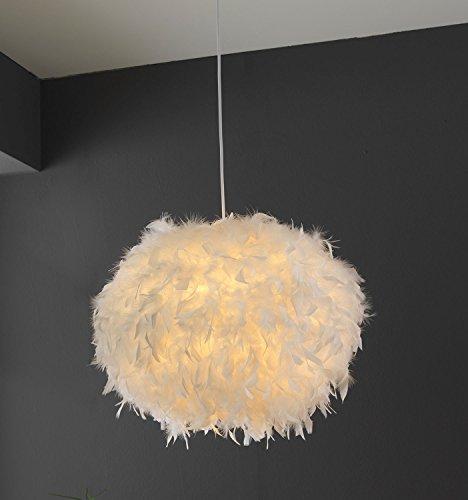 Papierleuchte Pendelleuchte Deckenleuchte Deckenlampe | Papier | Federn | Weiß