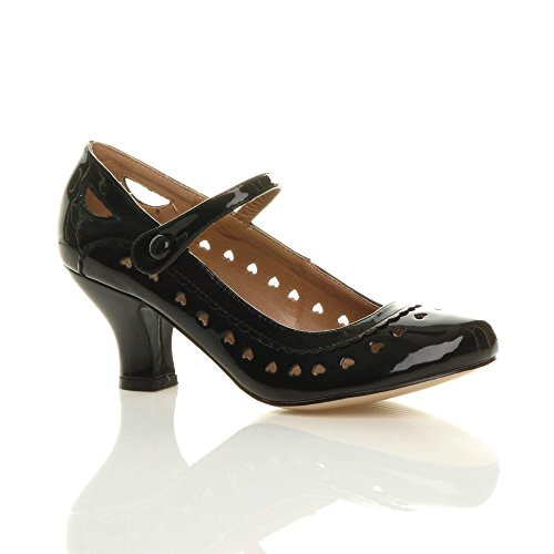 Ajvani Damen Herzmuster Mary Jane Mittlerer Absatz Feinmachen Pumps Schuhe Größe 36 3