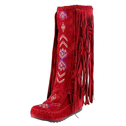 MISSUIT Damen Knee High Stiefel mit Fransen Kniehoch Stiefel Flach Retro Boots Herbst Winter Schuhe(Rot,35)