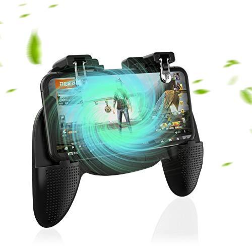Olymajy Mando Movil Controlador de Juego Móvil con Soporte para teléfono Ajustable y Ventilador de Enfriamiento con Gamepad Joystick de Disparo y apuntar L1R1L2R2 Gatillo Grip