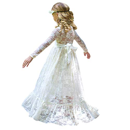 CQDY Lace Flower Girl Dress Long Sleeves Princess Communion Dresses Ivory