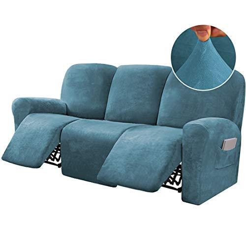 8-teilige Liegesofaüberzüge, Samt, Stretch, für 3 Kissen, Sofa-Schonbezüge, Möbelbezüge, maßgeschneiderter Stil, dick, weich, waschbar, Pfauenblau
