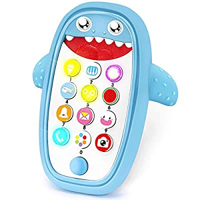 SWAGITLOUD Sommer Teething Phone Toy for Babies with Removable Soft Case, Lights, Music and Adjustable Volume - Play and Learn for Children and Toddlers 18+ Months (Blue)
