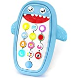 Sommer Teething Phone Toy for Babies with Removable Soft Case, Lights, Music and Adjustable Volume - Play and Learn for Children and Toddlers 18+ Months (Blue)