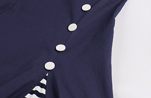 Wellwits Women's Vintage Pin Up A Line Stripes Sailor Dress Navy 2XL