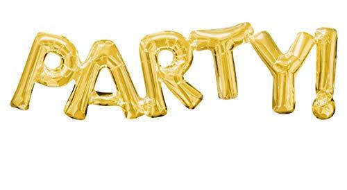 amscan 3376201 Folienballon SuperShape Wort Party, Gold, 83 x 22 cm