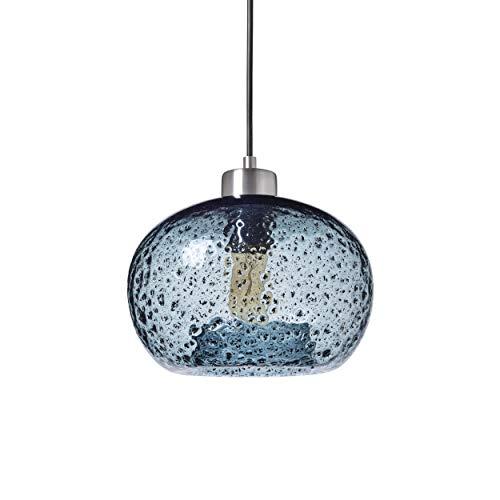 Pendant Lighting Handblown Glass Mini Pendant Light Fixture for Kitchen Island Sink Restaurant Farmhouse, Blue, Brushed Nickel