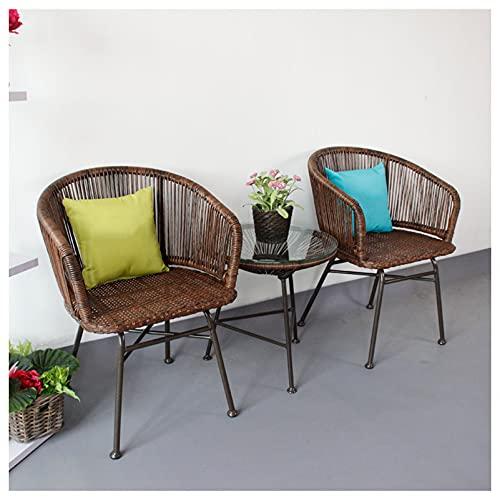 YF-Barstool Set da bistrot per Patio all'aperto, 3 Pezzi di mobili per Veranda retrò, 2 sedie Intrecciate per Esterni per Tutte Le Stagioni e tavolino Rotondo, Marrone